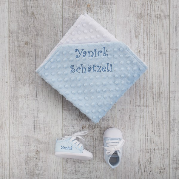 Minky Blanket & Baby shoes, Blue